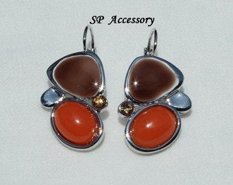 Oval Crystal Earrings, colorful earrings, stainless steel earrings, jewelry earrings