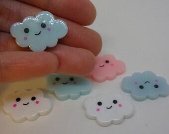6 Cute kawaii clouds white pink blue sky embellishments resin cabochon flatback scrapbook embellishment DIY phone