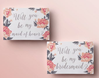 Printable will you be my bridesmaid card floral will you be my maid of honor template instant download will you be my bridesmaid printables