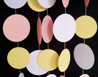 SWEET BABY GIRL Paper Circle Garland - Party, Shower, Nursery, Children's Room decoration.
