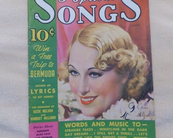 Popular Songs Sheet music magazine 1935 music Grace Moore Cover art Collectible music