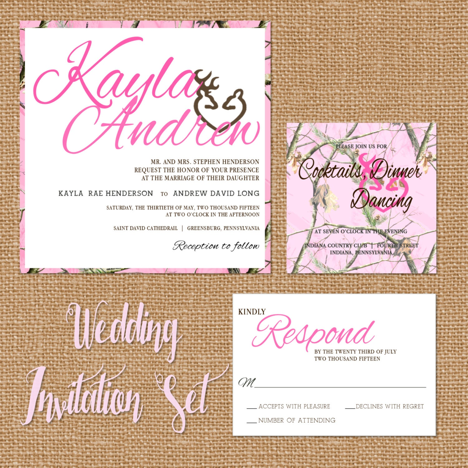 Camouflage Wedding Invitations: Pink Camo Wedding Invitation Camouflage Wedding Suite Pink