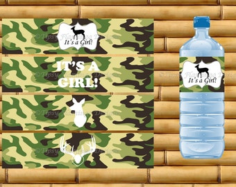 Baby Shower, Water Bottle Labels, It's A Girl, Camo, Green Camo, Hunthing Theme, Party Supplies, Favors, Printable, Instant Download- TFD151