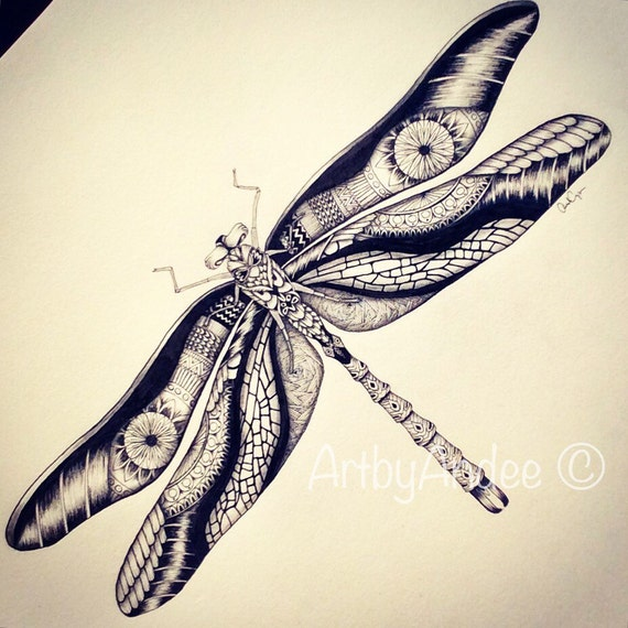 Dragonfly Zentangle Hand Drawn Print By