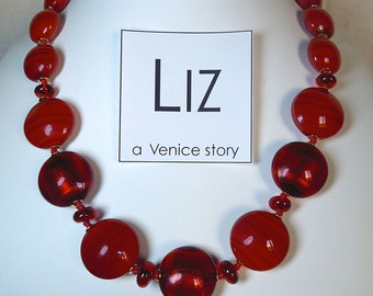 Red Valentine 2 - Murano glass necklace craft-handmade. Inspirated and designed with different shapes and colours on Venetian classic style