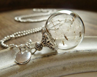 Dandelion Necklace Silver/ Wish Letter