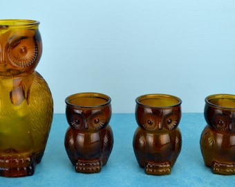 Owl and Pitcher Drinkware Set