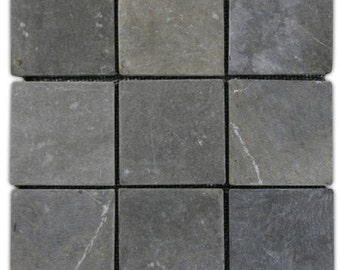 """Hand Made Stone Tile - Grey 4"""" x 4"""" Stone Mosaic Tile 1 sq. ft. - Use for Mosaics, Showers, Flooring, Backsplashes and More!"""