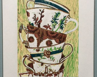 Teacups Linocut Print (Artist's Proof)