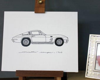 Corvette Coupe 1963 Line Drawing, reproduction from original ink drawing