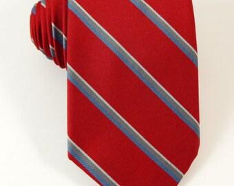 "Vintage Saint Germain Tie Red Stripe 3"" Necktie 1980S"