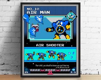 Mega Man poster, Nintendo art, video game poster, classic game print, pixel art, Air Man, kids room poster, game room art