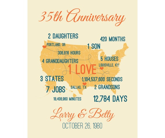 35 Wedding Anniversary Gifts For Parents: 35th Anniversary Gift For Parents Personalized By SoleStudio
