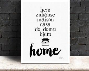 Home Art Print, Printable, 8 x 10 jpeg