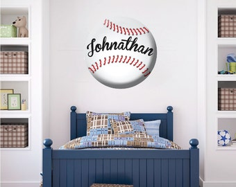Baseball Wall Decal, Custom Baseball Wall Art, Personalized Baseball  Decals, Baseball Wall Decor
