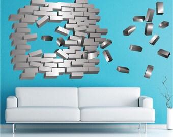 Abstract Brick Wall Decal, Brick Wall Design Mural, Bricks Wall Decal Design, Brick Wall Stickers, Bricks Vinyl Adhesive Design, a23