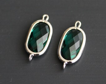 A2-095-R-EM] Emerald Green / 9 x 14mm / Rhodium plated / Baguette Glass Pendant Connector /  2 pieces