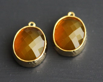 A2-008-G-H] Honey / 12 x 13.5mm / Gold plated / Oval Glass Pendant /  2 pieces