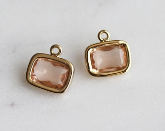 A2-057-G-PE] Peach / 9 X 7mm / Gold plated / Rectangle Glass Pendant / 2 pieces