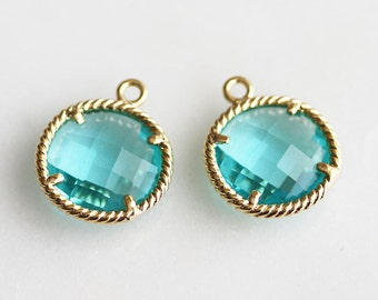 A2-036-G-BZ] Blue Zircon / 12mm / Gold plated / Round Glass Pendant /  2 piece(s)