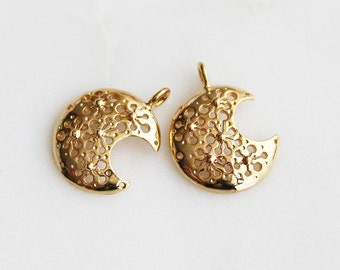 P0-663-G] Crescent Moon / 15 x 19mm / Gold plated / Pendant / 2 piece(s)