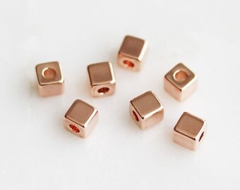 T6-113-PG] Square Cube / 4mm / Pink Gold plated / Metal Beads / 10 piece(s)