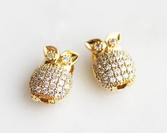 T6-126-G] Cz Cubic Owl / 9 x 12mm / Gold plated / Metal Beads / 1 piece(s)