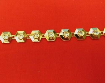 Stunning Crystal Beaded Rhinestone Diamante Ribbon Trim Bridal Wedding Chain- Gold 0831