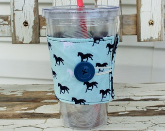 Reusable Cold Beverage Cup Sleeve, Cold Beverage Sleeve, Cold Beverage Cozy, Mint Blue and Navy Horse Fabric