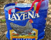 Large Upcycled Chickenfeed bag Tote