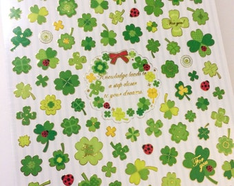 Shiny Four Leaf Clover Stickers
