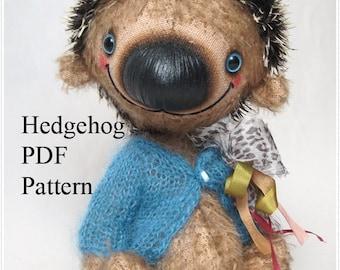 PDF Teddy hedgehog pattern, 8'' (20 cm)