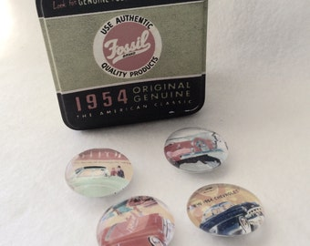 1954 Cars Glass Marble Magnets, 4 Fridge or Office Magnets, Refrigerator Magnets in Fossil Tin