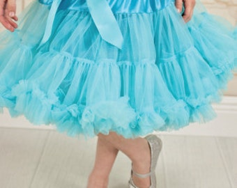 Turquoise Blue Pettiskirt, Little Girl, Toddler, Big Girl - Sizes XS, S and M