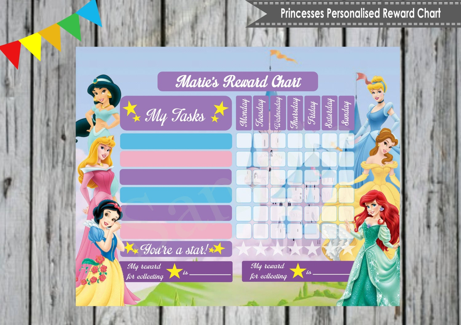 princess personalised reward chart by lollipoppartydesigns 🔎zoom