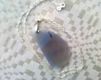 Gray Agate Stone Necklace, Pendant Necklace, Birthstone Jewelry, Silver Necklace, From Latvia