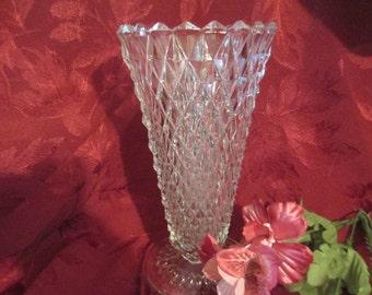 Vintage Clear Crystal Diamond Cut Vase 8 Inches Tall