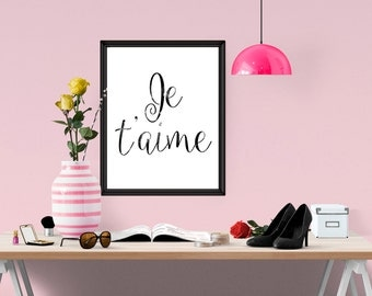 Je Taime Print, love Typography Poster, Instant Download, Scandinavian Print, Love Poster, Typography Home Decor in Black and White, WP177