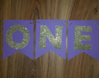 1st Birthday Purple & Gold Custom Made ONE Bunting Banner