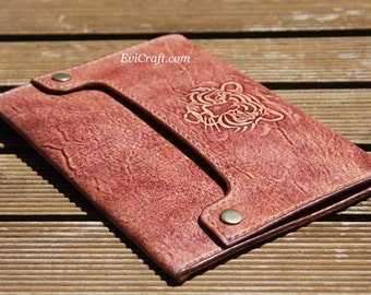 Leather Mens Bag, mens clutch, Mlutch, iPad mini cover, eReader case, hand stitched tooled leather, tiger mens gift, brown handbag