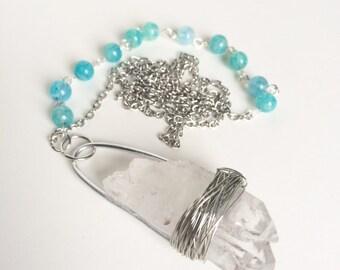 Quartz Necklace With Blue Beads