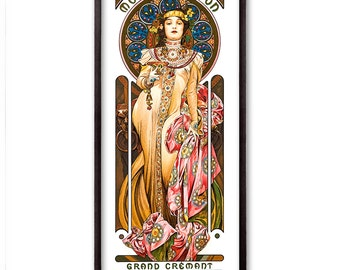 Moet Chandon by Alphonse Mucha Fine Art Glicée Poster Digital Wall art Illustration Print Decorative- SKU 0182