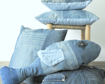 medium blue recycled pathwork jeans pillow cover cushion with white stars
