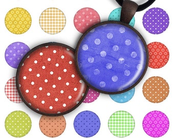 75% OFF SALE Digital Collage Sheet 1inch round 1inch circle Pendant Printable Download PC019 Instant Download for jewelry making - Polka Dot