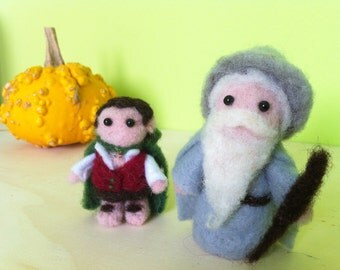 Needle felted Gandalf and Frodo