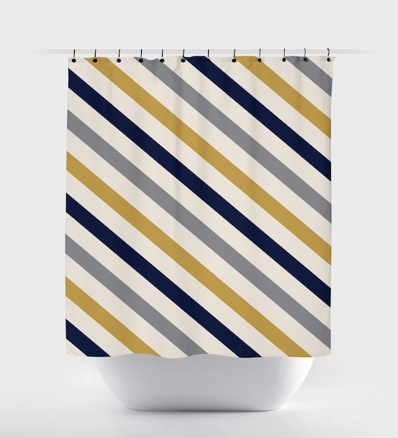 Mustard blue grey and white striped fabric shower curtain for Blue and white striped bathroom accessories