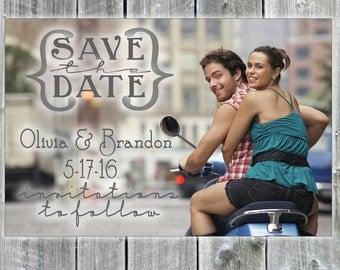Custom Photo Save the Date, wedding, bridal, postcard printable, custom