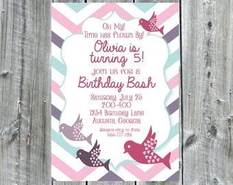 Pastel Chevron Birds Birthday Invitation, Printable Invitation, Swallows, pink, purple, birthday party invitation, girl birthday