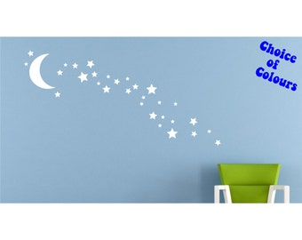 Moon and Stars Wall Decal Sticker set for nursery boy girl room bedroom wall art decoration - REMOVABLE 1028