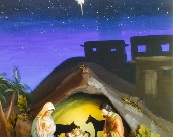 Nativity crèche, background, display